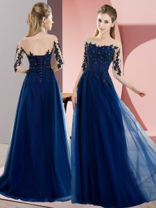 Navy Blue Bateau Lace Up Beading and Lace Quinceanera Court of Honor Dress Half Sleeves