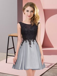 Chic Satin Scoop Sleeveless Zipper Lace Dama Dress in Grey
