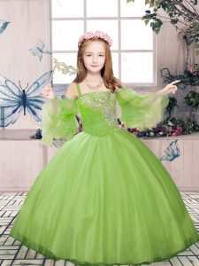 Champagne Ball Gowns Beading Pageant Dress for Womens Lace Up Tulle Long Sleeves Floor Length