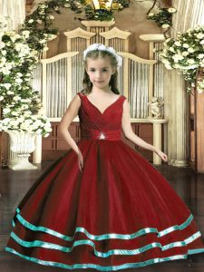 New Arrival V-neck Sleeveless Little Girls Pageant Dress Floor Length Beading and Ruching Wine Red Organza