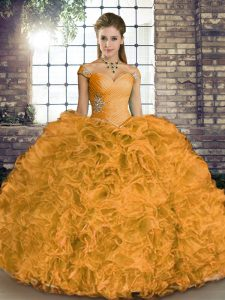Beauteous Orange Sleeveless Organza Lace Up Vestidos de Quinceanera for Military Ball and Sweet 16 and Quinceanera