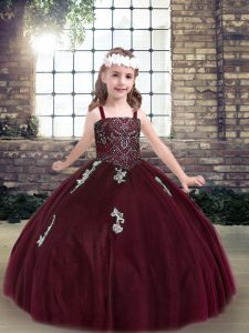 Attractive Sleeveless Tulle Floor Length Lace Up Little Girls Pageant Dress in Burgundy with Beading and Appliques