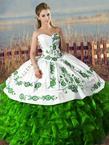 Floor Length Lace Up Vestidos de Quinceanera Green for Sweet 16 and Quinceanera with Embroidery and Ruffles