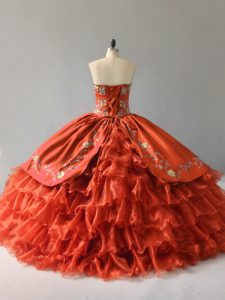 Sleeveless Floor Length Embroidery and Ruffles Lace Up Sweet 16 Dress with Orange Red