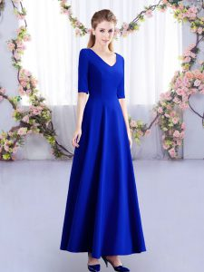 On Sale Royal Blue Half Sleeves Ruching Ankle Length Quinceanera Court Dresses