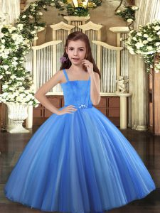 Luxurious Blue and Yellow And White Ball Gowns Beading Little Girls Pageant Dress Lace Up Tulle Sleeveless Floor Length