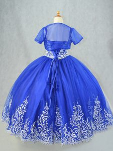 Cute Tulle Spaghetti Straps Sleeveless Lace Up Beading and Embroidery Little Girl Pageant Gowns in Royal Blue
