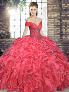 Suitable Floor Length Ball Gowns Sleeveless Coral Red Quinceanera Gowns Lace Up