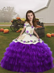 Eggplant Purple Ball Gowns Organza Straps Sleeveless Embroidery and Ruffled Layers Floor Length Lace Up Glitz Pageant Dress