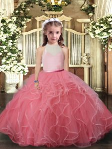 Floor Length Watermelon Red Little Girls Pageant Dress Wholesale Tulle Sleeveless Ruffles