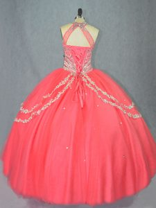 Watermelon Red Lace Up Sweet 16 Quinceanera Dress Beading and Ruffles Sleeveless Floor Length
