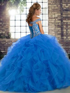 Simple Turquoise Tulle Lace Up Off The Shoulder Sleeveless Quinceanera Gowns Brush Train Beading and Ruffles
