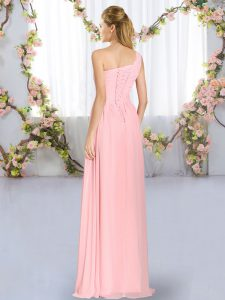 Fabulous Chiffon Sleeveless Floor Length Dama Dress and Ruching