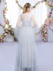Trendy Grey Tulle Lace Up Scoop Sleeveless Floor Length Court Dresses for Sweet 16 Lace and Belt