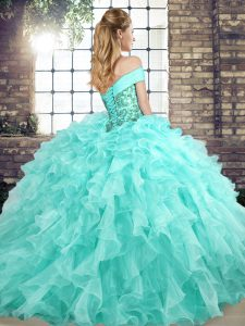 Lace Up Vestidos de Quinceanera Peach for Military Ball and Sweet 16 and Quinceanera with Beading and Ruffles Brush Train