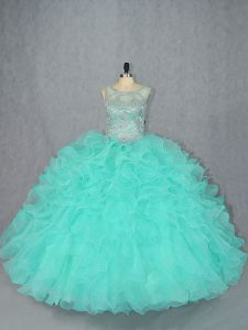 Attractive Floor Length Ball Gowns Sleeveless Aqua Blue 15 Quinceanera Dress Lace Up