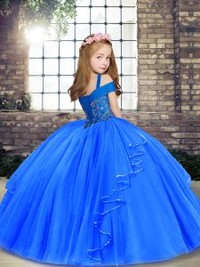 Blue Little Girls Pageant Gowns Party and Sweet 16 and Wedding Party with Beading Straps Sleeveless Lace Up