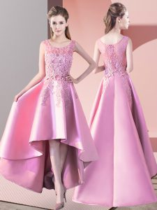 Scoop Sleeveless Court Dresses for Sweet 16 High Low Lace Baby Pink Satin