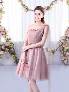 High Quality A-line Quinceanera Court Dresses Pink One Shoulder Tulle Sleeveless Knee Length Lace Up
