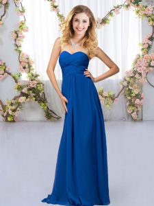 Royal Blue Quinceanera Dama Dress Wedding Party with Beading Sweetheart Sleeveless Criss Cross