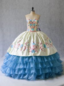 Sweetheart Sleeveless Ball Gown Prom Dress Floor Length Embroidery and Ruffled Layers Blue And White Satin and Organza
