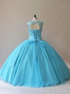 Luxury Floor Length Ball Gowns Sleeveless Baby Blue 15 Quinceanera Dress Lace Up
