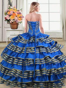 Sleeveless Lace Up Floor Length Embroidery and Ruffled Layers Sweet 16 Quinceanera Dress