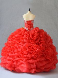 Elegant Floor Length Lace Up Sweet 16 Dress Red for Sweet 16 and Quinceanera with Pick Ups and Hand Made Flower