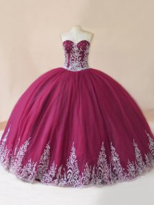New Style Sleeveless Tulle Floor Length Lace Up Ball Gown Prom Dress in Burgundy with Embroidery