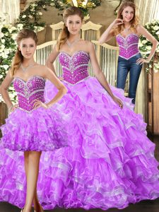 Spectacular Lilac Sweetheart Neckline Beading and Ruffles Quinceanera Gowns Sleeveless Lace Up