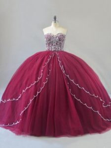 Suitable Sleeveless Brush Train Beading Lace Up Sweet 16 Dresses