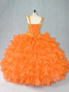 Ideal Orange 15 Quinceanera Dress Sweet 16 and Quinceanera with Beading and Ruffles Straps Sleeveless Lace Up