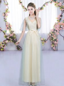 Sophisticated Tulle Sleeveless Floor Length Vestidos de Damas and Lace and Bowknot