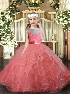 Scoop Sleeveless Backless Child Pageant Dress Watermelon Red Tulle