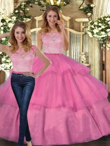 Fantastic Hot Pink Scoop Neckline Lace and Ruffled Layers 15th Birthday Dress Sleeveless Lace Up