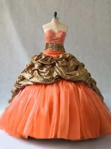 Orange Ball Gowns V-neck Sleeveless Organza and Printed Brush Train Lace Up Beading and Pick Ups 15 Quinceanera Dress