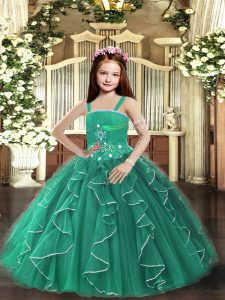 High End Dark Green Sleeveless Tulle Lace Up Pageant Dress Wholesale for Party and Sweet 16 and Wedding Party