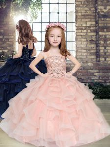 Best Tulle Straps Sleeveless Lace Up Beading and Ruffles Little Girl Pageant Gowns in Peach