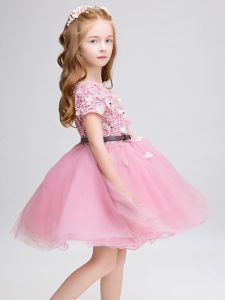 Pink Lace Up Flower Girl Dresses for Less Lace and Belt Short Sleeves Mini Length