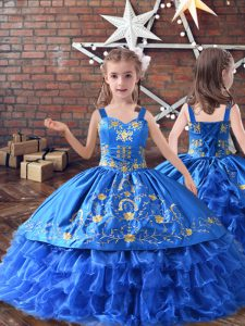 Customized Royal Blue Sleeveless Floor Length Embroidery and Ruffled Layers Lace Up Girls Pageant Dresses