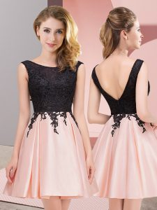 Pink Sleeveless Lace Mini Length Damas Dress