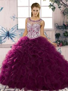 Custom Fit Dark Purple Ball Gowns Beading and Ruffles Ball Gown Prom Dress Lace Up Organza Sleeveless Floor Length
