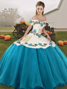 Beauteous Blue And White Sleeveless Organza Lace Up Quinceanera Dresses for Military Ball and Sweet 16 and Quinceanera