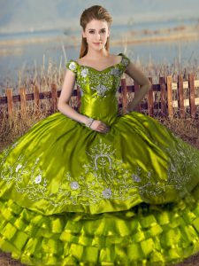 Fantastic Floor Length Lace Up Quinceanera Dresses Olive Green for Sweet 16 and Quinceanera with Embroidery and Ruffled Layers