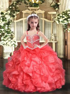 Floor Length Lace Up Girls Pageant Dresses Coral Red for Party and Sweet 16 and Wedding Party with Beading and Ruffles