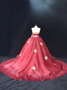 Elegant Organza Sweetheart Sleeveless Zipper Appliques 15th Birthday Dress in Red and Burgundy