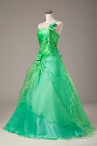 Green Quinceanera Dress Sweet 16 and Quinceanera with Hand Made Flower One Shoulder Sleeveless Lace Up