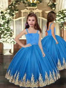Most Popular Sleeveless Tulle Floor Length Lace Up Kids Formal Wear in Baby Blue with Embroidery