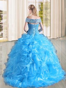 Sleeveless Beading and Lace and Ruffles Lace Up 15th Birthday Dress with Coral Red Sweep Train