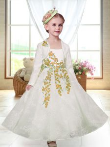 White Zipper Toddler Flower Girl Dress Embroidery Sleeveless Ankle Length